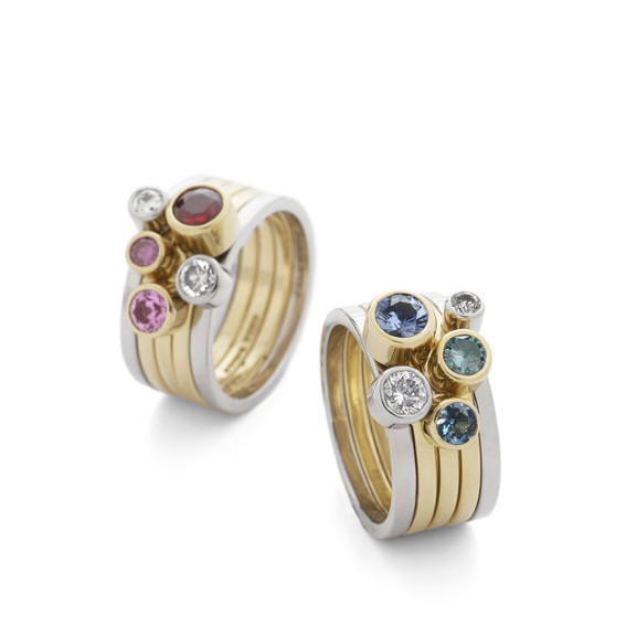 Coloured Diamond Stacking Rings